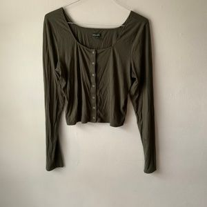 Wild Fable Olive Green Long Sleeve Clip Button Top